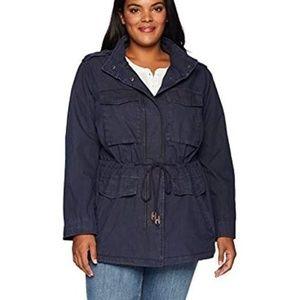 Levis Blue Utility Military Drawstring Cotton Coat